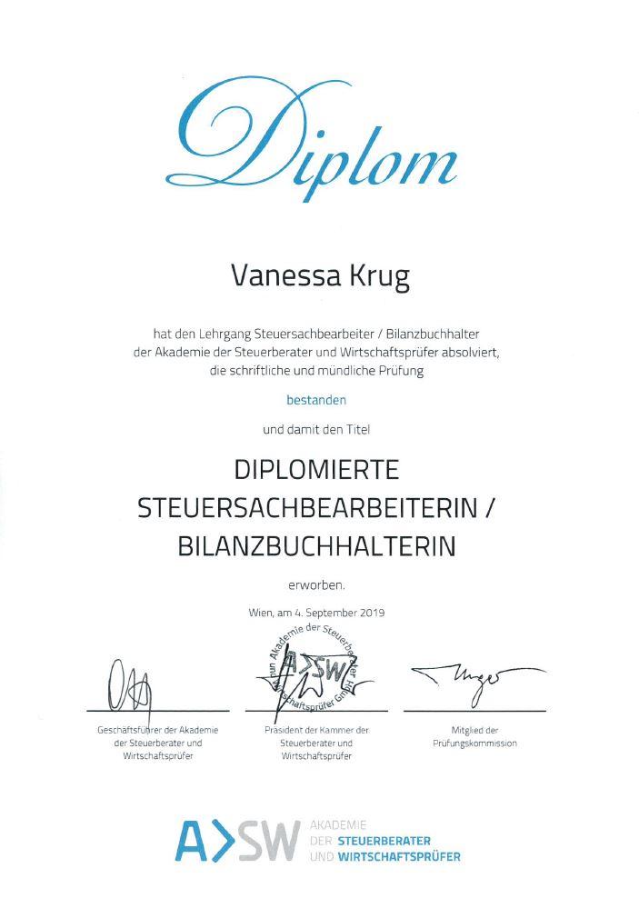 Diplom Vanessa Krug - Vanessa Krug ist diplomierte Steuersachbearbeiterin/Bilanzbuchhalterin